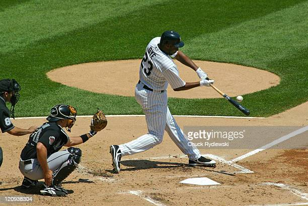 Chicago White Sox' DH Jermaine Dye lines a double during their Interleague game versus the Florida Marlins June 20 2007 at US Cellular Field in...