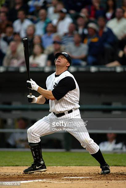 Chicago White Sox' DH/1B Jim Thome pops out during their game against the Oakland Athletics May 24 2006 at US Cellular Field in Chicago Illinois The...