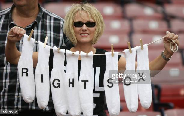 Chicago White Sox fan Donna Marketti from Gardner Illinois shows her support before the start of Game Three of the American League Division Series...