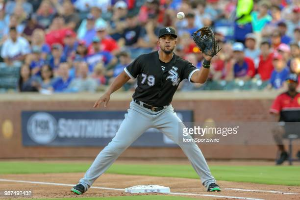Chicago White Sox First base Jose Abreu catches a ball during the game between the Chicago White Sox and Texas Rangers on June 29 2018 at Globe Life...