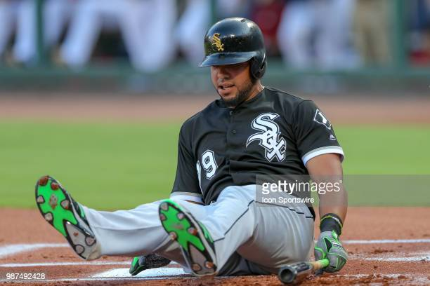 Chicago White Sox First base Jose Abreu fouls a ball off his foot during the game between the Chicago White Sox and Texas Rangers on June 29 2018 at...