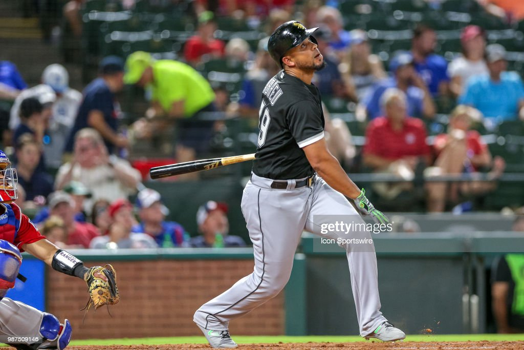 Chicago White Sox First base Jose Abreu (79) watches a deep fly ball during the game between the Chicago White Sox and Texas Rangers on June 29, 2018 at Globe Life Park in Arlington, TX.
