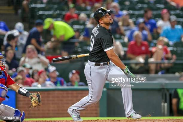 Chicago White Sox First base Jose Abreu watches a deep fly ball during the game between the Chicago White Sox and Texas Rangers on June 29 2018 at...