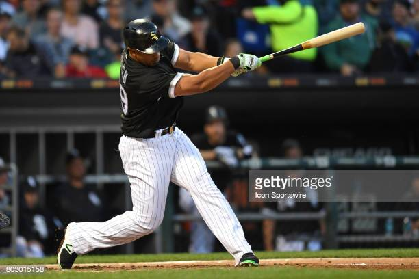 Chicago White Sox first baseman Jose Abreu hits an RBI double in the fourth inning during a game between the New York Yankees and the Chicago White...
