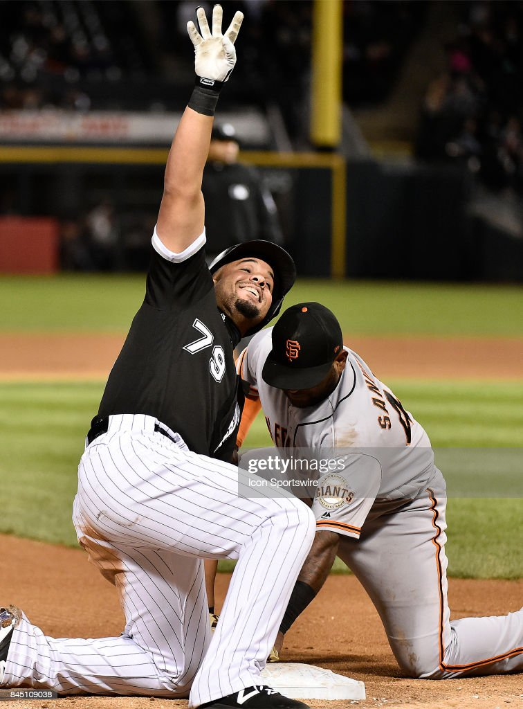 Chicago White Sox first baseman Jose Abreu (79) reacts after sliding into third base for the triple and hitting for the cycle during the game between the San Francisco Giants and the Chicago White Sox on September 9, 2017 at Guaranteed Rate Field in Chicago, Illinois.