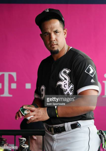 Chicago White Sox infielder Jose Abreu in the dugout before a game against the Los Angeles Angels of Anaheim played on July 25 2018 at Angel Stadium...