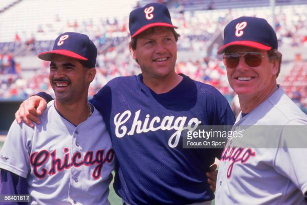 Chicago White Sox' infielder Ozzie Guillen catcher Carlton Fisk and manager Jeff Torborg pose together after Jeff Torborg declared the two to be...