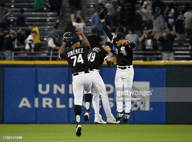 Chicago White Sox left fielder Eloy Jimenez and teammates celebrate the 102 win against the New York Yankees on June 14 2019 at Guaranteed Rate Field...