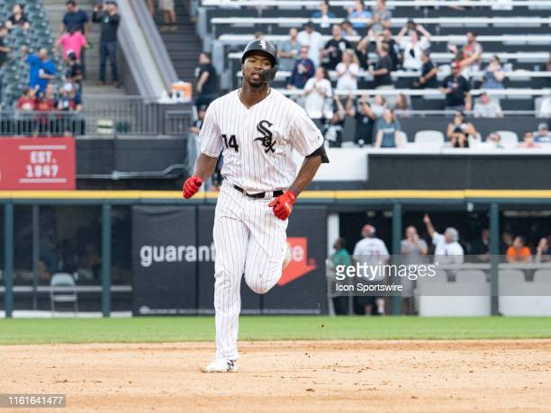 Chicago White Sox left fielder Eloy Jimenez hits a homer during the MLB regular season game between the Houston Astros at the Chicago White Sox on...