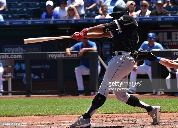 Chicago White Sox left fielder Eloy Jimenez hits a tworun home run in the second inning during a Major League Baseball Game between the Chicago White...
