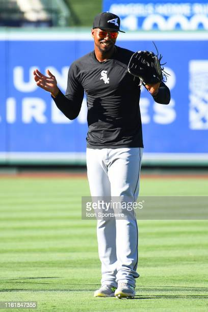 Chicago White Sox left fielder Eloy Jimenez looks during batting practice before a MLB game between the Chicago White Sox and the Los Angeles Angels...