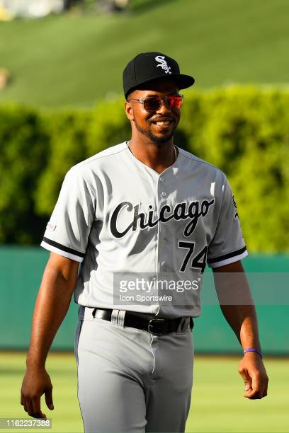 Chicago White Sox left fielder Eloy Jimenez looks on before a MLB game between the Chicago White Sox and the Los Angeles Angels of Anaheim on August...