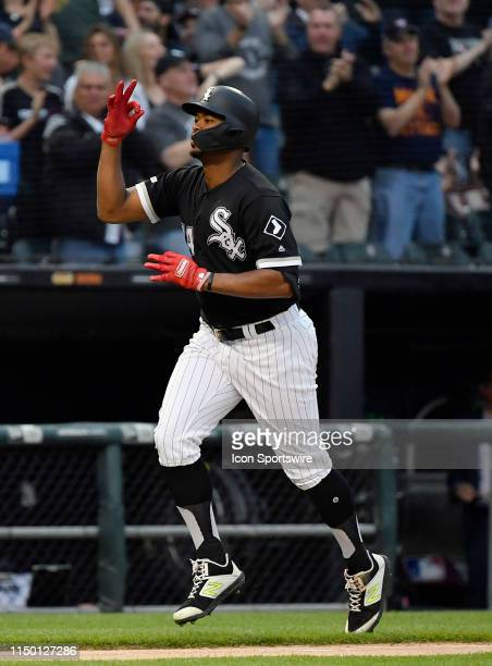 Chicago White Sox left fielder Eloy Jimenez react after his three run home run ball in the first inning against the New York Yankees on June 14 2019...