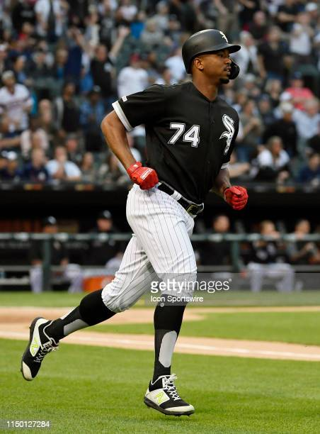 Chicago White Sox left fielder Eloy Jimenez rounds the bases after his three run home run ball in the first inning against the New York Yankees on...