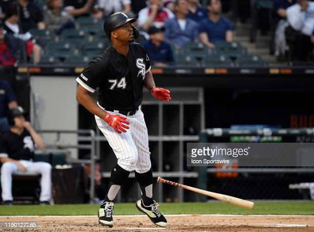 Chicago White Sox left fielder Eloy Jimenez watches his three run home run ball leave the park in the first inning against the New York Yankees on...