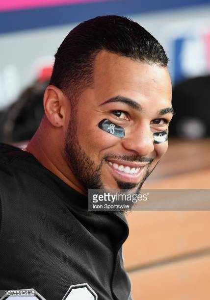 Chicago White Sox left fielder Leury Garcia in the dugout before a game against the Los Angeles Angels of Anaheim played on July 25 2018 at Angel...