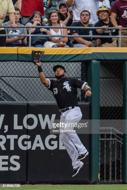 Chicago White Sox left fielder Melky Cabrera makings a leaping catch in the 2nd inning during an MLB game between the Los Angeles Dodgers and the...