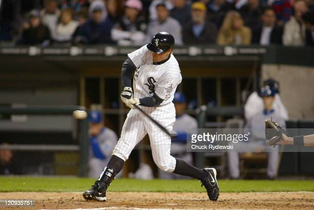 Chicago White Sox' Left Fielder Scott Podsednik doubles during their game against the Kansas City Royals May 5, 2006 at U.S. Cellular Field in...