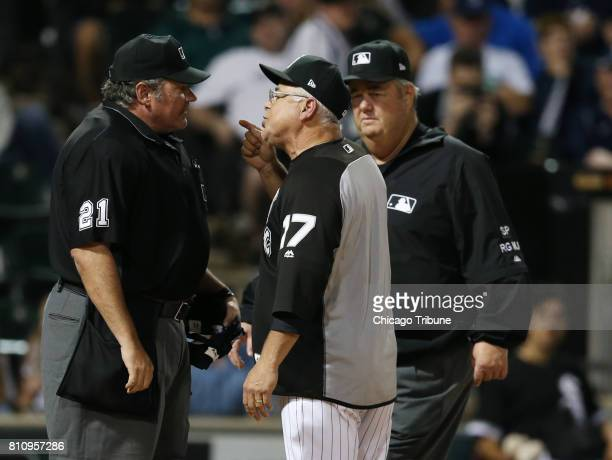 Chicago White Sox manager Rick Renteria has words with home plate umpire Hunter Wendelstedt left after he ejected him during a game against the New...