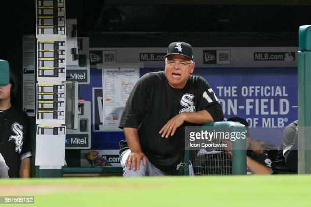 Chicago White Sox Manager Rick Renteria yells from the dugout during the game between the Chicago White Sox and Texas Rangers on June 29 2018 at...