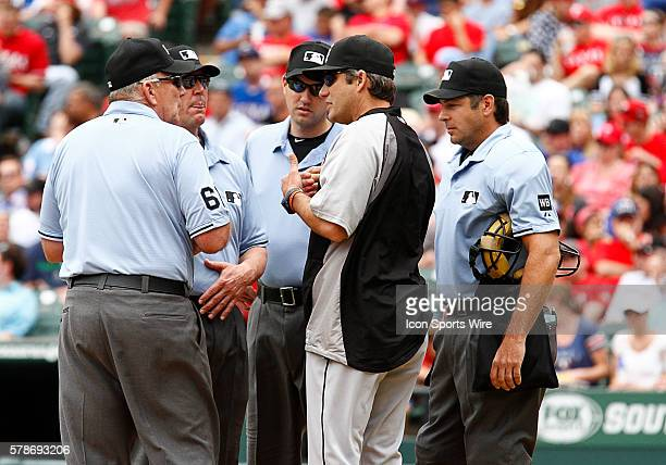 Chicago White Sox manager Robin Venture asks for a review during a regular season MLB game between the Chicago White Sox and Texas Rangers at Globe...