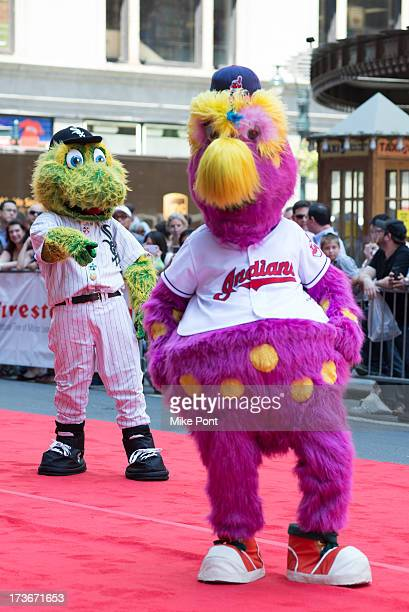 Chicago White Sox Mascot Southpaw and Cleveland Indians Mascot Slider attends the MLB AllStar Game Red Carpet Show on July 16 2013 in New York City