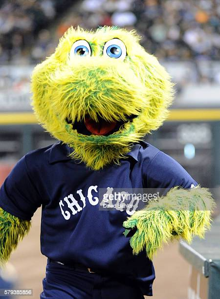 Chicago White Sox mascot Southpaw wears a replica 1976 jersey that the Sox were suppose to wear against the Detroit Tigers but didn't and wore...