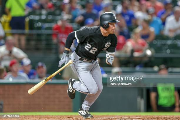 Chicago White Sox Outfield Charlie Tilson bats during the game between the Chicago White Sox and Texas Rangers on June 29 2018 at Globe Life Park in...