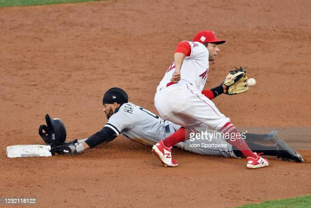 Chicago White Sox outfielder Billy Hamilton steals second base past the tag of Los Angeles Angels second baseman David Fletcher in the third inning...