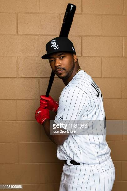 Chicago White Sox outfielder Eloy Jimenez poses for a portrait during the Chicago White Sox photo day on Wednesday Feb 20 2019 at Camelback...