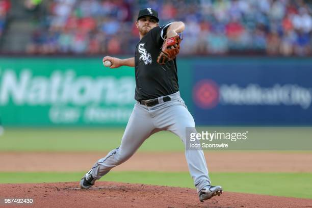 Chicago White Sox Pitcher Dylan Covey throws during the game between the Chicago White Sox and Texas Rangers on June 29 2018 at Globe Life Park in...