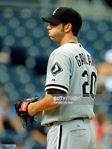 Chicago White Sox pitcher Jon Garland exhaled before pitching to Kansas City Royals' Joey Gathright in the eighth inning at Kauffman Stadium in...