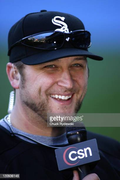 Chicago White Sox' Pitcher Mark Buehrle who hurled a nohitter last night jokes during an interview prior to their game versus the Texas Rangers April...