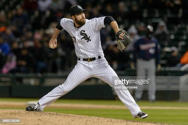Chicago White Sox Pitcher Zach Putnam pitches in the 8th inning during a MLB game between the Minnesota Twins and the Chicago White Sox on April 07...