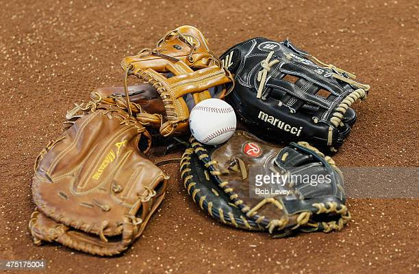 Chicago White Sox players gloves lay on the infield duting batting practice at Minute Maid Park on May 29 2015 in Houston Texas
