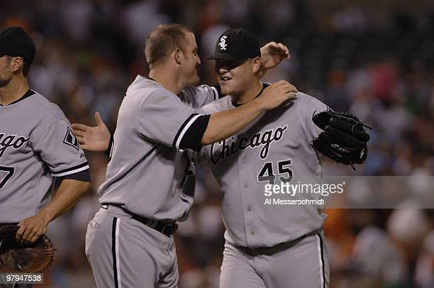 Chicago White Sox relief pitcher Bobby Jenks celebrates after the gameending out against the Baltimore Orioles July 28 2006 in Baltimore The Sox won...