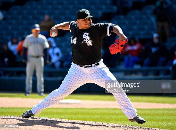 Chicago White Sox relief pitcher Bruce Rondon pitches the ball against the Seattle Mariners on April 25 2018 at Guaranteed Rate Field in Chicago...