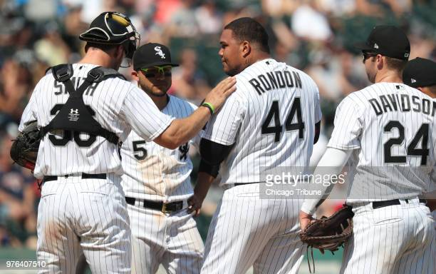 Chicago White Sox relief pitcher Bruce Rondon takes a meeting on the mound with bases loaded in the eighth inning against the Detroit Tigers at...