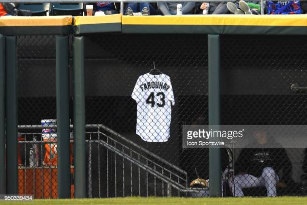 Chicago White Sox relief pitcher Danny Farquhar's jersey is seen hanging in the outfield dugout during a game between the and the Houston Astros the...