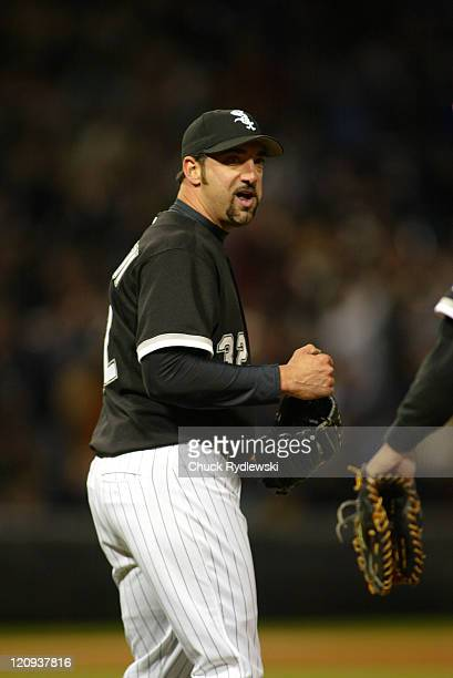Chicago White Sox relief pitcher Dustin Hermanson pumps his fist after closing out the Detroit Tigers 43 April 30 2005 at US Cellular Field in...