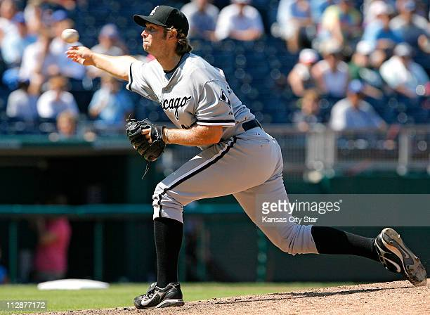 Chicago White Sox relief pitcher Ehren Wassermann throws in the seventh inning against the Kansas City Royals on Sunday August 3 at Kauffman Stadium...