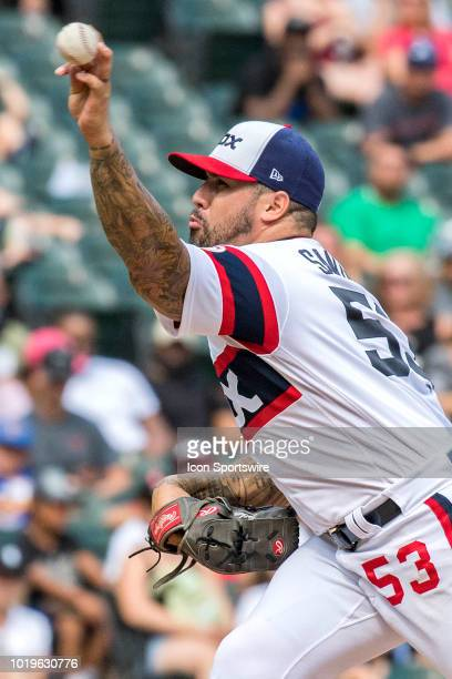 Chicago White Sox relief pitcher Hector Santiago pitches during a game between the Kansas City Royals and the Chicago White Sox on August 19 at...