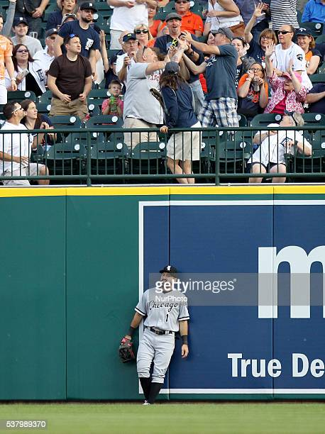 Chicago White Sox right fielder Adam Eaton leans agains the wall after a home run hit by Detroit Tigers designated hitter Victor Martinez during the...