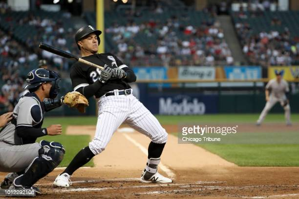 Chicago White Sox right fielder Avisail Garcia ducks a pitch from New York Yankees starting pitcher Lance Lynn during the first inning at Guaranteed...