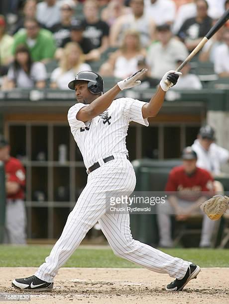 Chicago White Sox' Right Fielder Jermaine Dye batting during their Interleague game versus the HoKonerkouston Astros June 10 2007 at US Cellular...