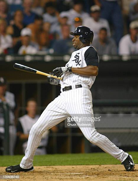 Chicago White Sox Right Fielder Jermaine Dye ducks a high hard one during the game against the Toronto Blue Jays August 2 2005 at US Cellular Field...