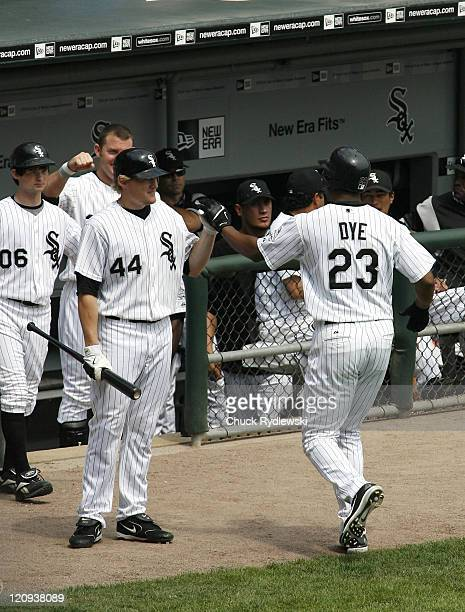 Chicago White Sox' Right Fielder Jermaine Dye returns to the dugout after homering during their game against the Kansas City Royals August 17 2006 at...