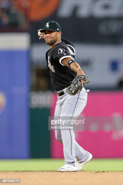 Chicago White Sox Second base Yoan Moncada makes a play on a ground ball during the game between the Chicago White Sox and Texas Rangers on June 29...
