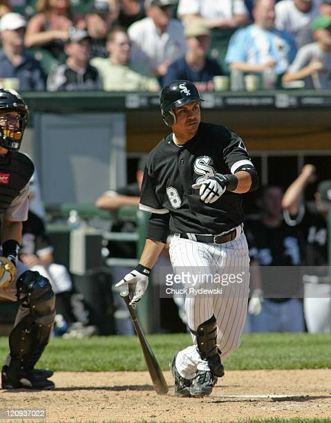Chicago White Sox' second baseman Alex Cintron singles in the winning run against the Houston Astros June 24 2006 at US Cellular Field in Chicago...