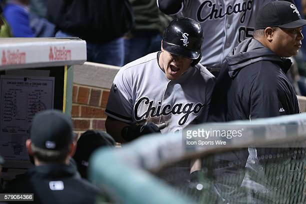 Chicago White Sox second baseman Gordon Beckham celebrates with teammates after hitting a single home run in the 8th inning in action during the 2014...